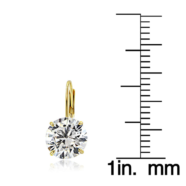 14K Yellow Gold 2.50 CTTW Cubic Zirconia Round Leverback Earring, 7mm