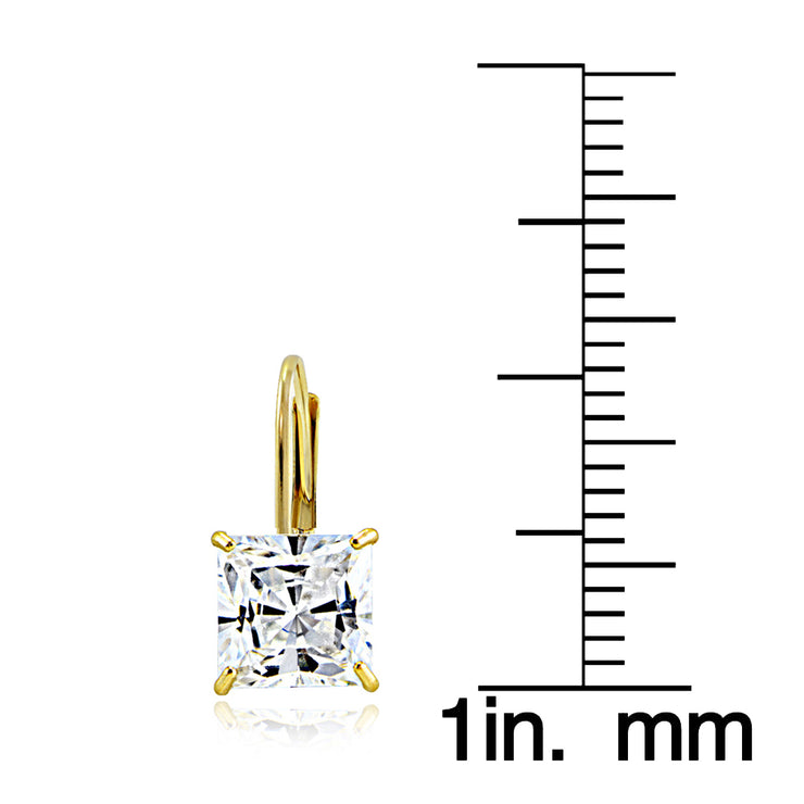 14K Yellow Gold 2.60 ct tdw Cubic Zirconia Square Leverback Earring, 6mm
