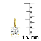 14K Yellow Gold 2.60 CTTW Cubic Zirconia Square Leverback Earring, 6mm