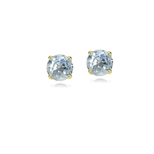 14k Yellow Gold Aquamarine 4mm Round Stud Earrings