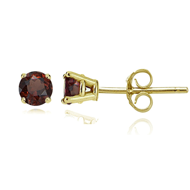14k Yellow Gold Garnet 4mm Round Stud Earrings