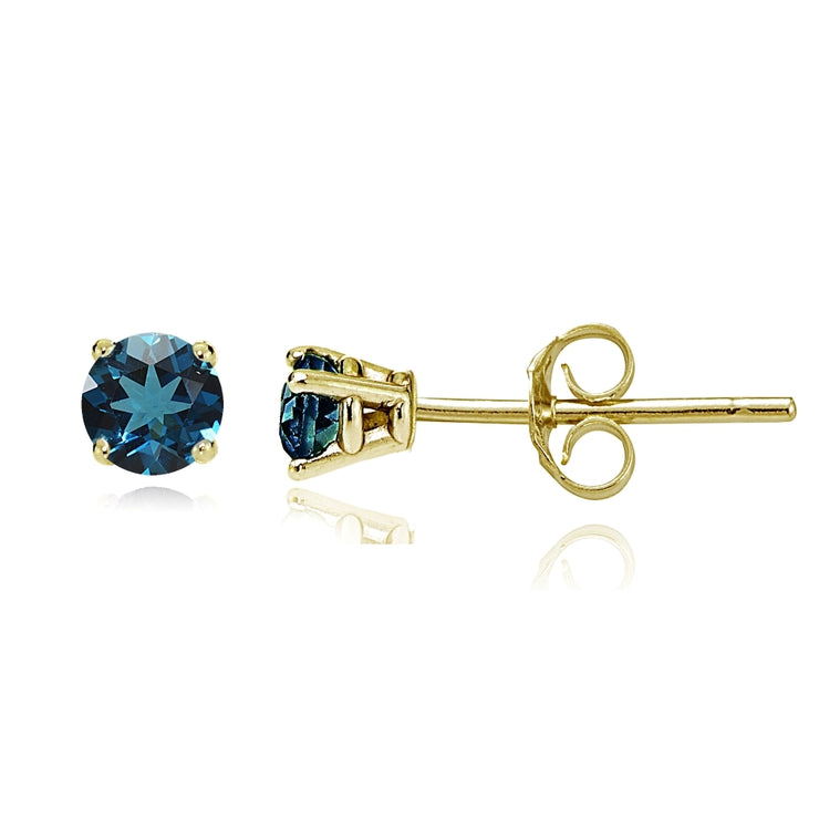 14k Yellow Gold London Blue Topaz 4mm Round Stud Earrings