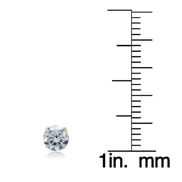 14k Yellow Gold Aquamarine 5mm Round Stud Earrings
