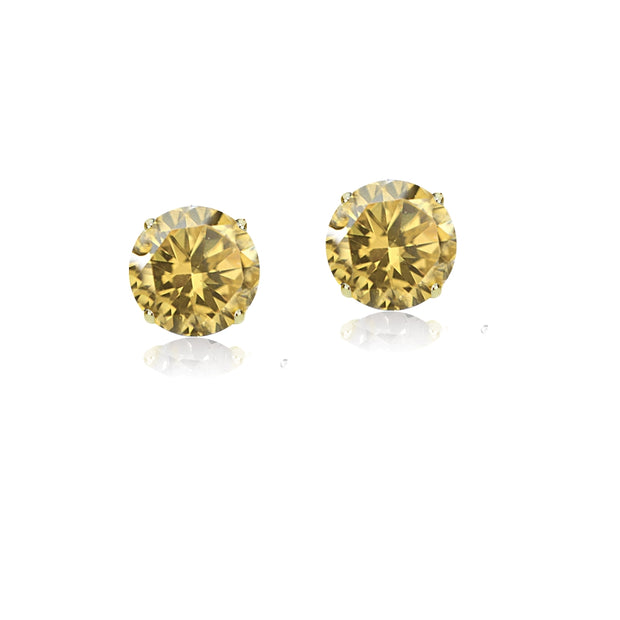 14k Yellow Gold Citrine 5mm Round Stud Earrings