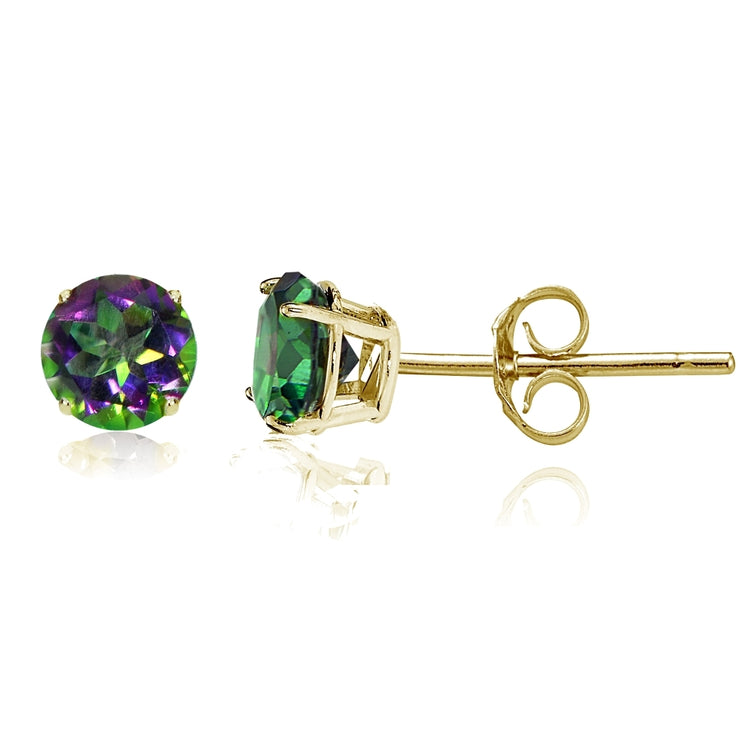 14k Yellow Gold Green Mystic Topaz 5mm Round Stud Earrings