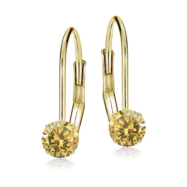 14k Yellow Gold Citrine 5mm Round Leverback Earrings