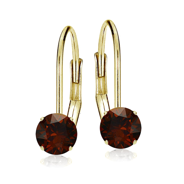 14k Yellow Gold Garnet 6mm Round Leverback Earrings