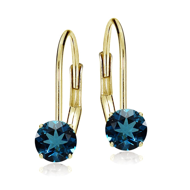 14k Yellow Gold London Blue Topaz 6mm Round Leverback Earrings