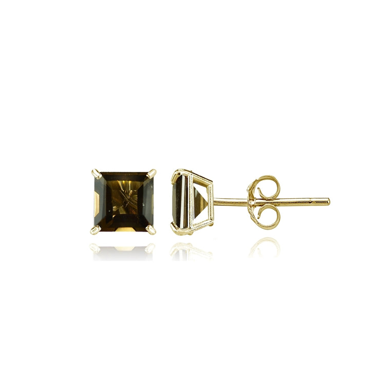 14k Yellow Gold Smoky Quartz 4mm Princess-Cut Stud Earrings