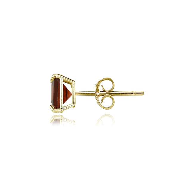 14k Yellow Gold Garnet 5mm Princess-Cut Stud Earrings