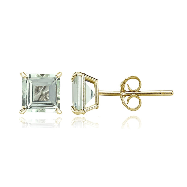 14k Yellow Gold Light Aquamarine 6mm Princess-Cut Stud Earrings