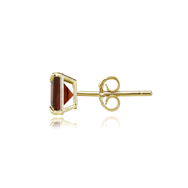 14k Yellow Gold Garnet 6mm Princess-Cut Stud Earrings