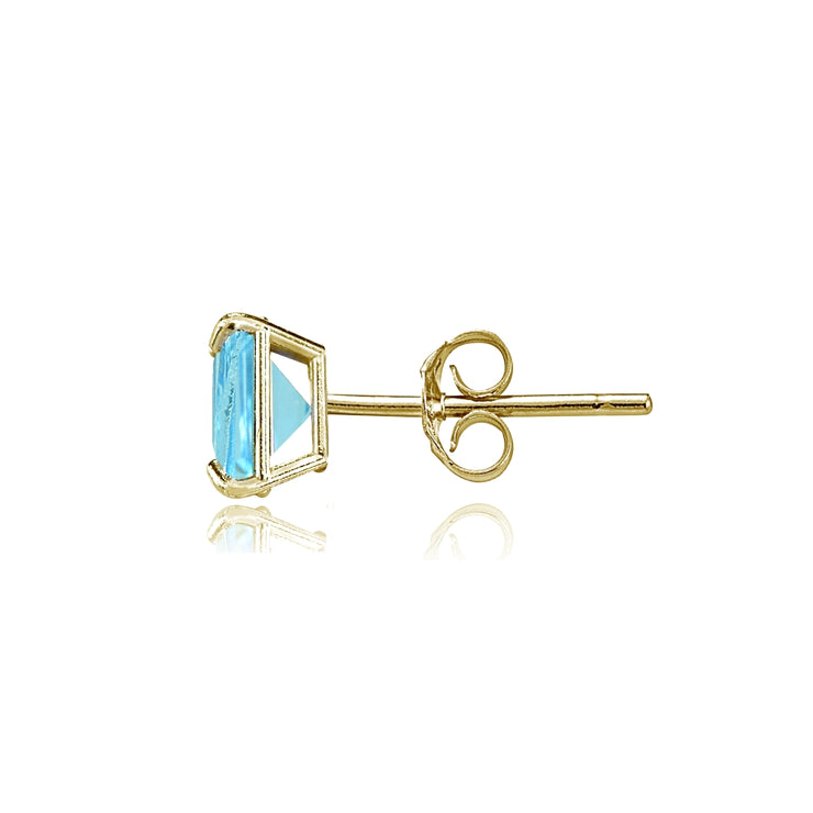 14k Yellow Gold Swiss Blue Topaz 6mm Princess-Cut Stud Earrings