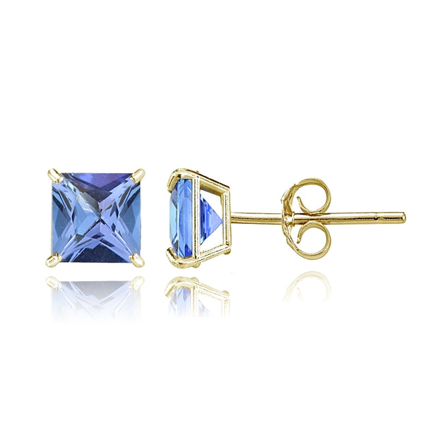 14k Yellow Gold Tanzanite 6mm Princess-Cut Stud Earrings