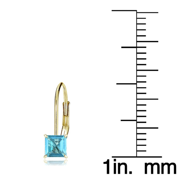 14k Yellow Gold Swiss Blue Topaz 5mm Princess-Cut Leverback Earrings