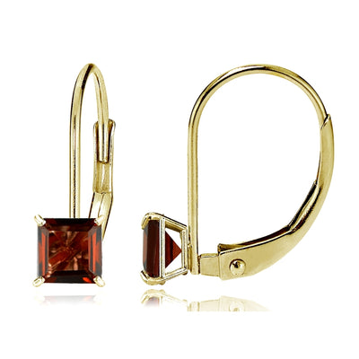 14k Yellow Gold Garnet 6mm Princess-Cut Leverback Earrings