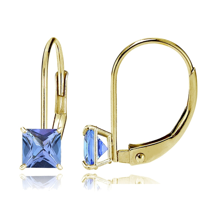 14k Yellow Gold Tanzanite 6mm Princess-Cut Leverback Earrings