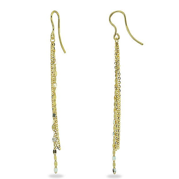 14K Gold Italian Dangling Mariner and Link Chains Drop Earrings