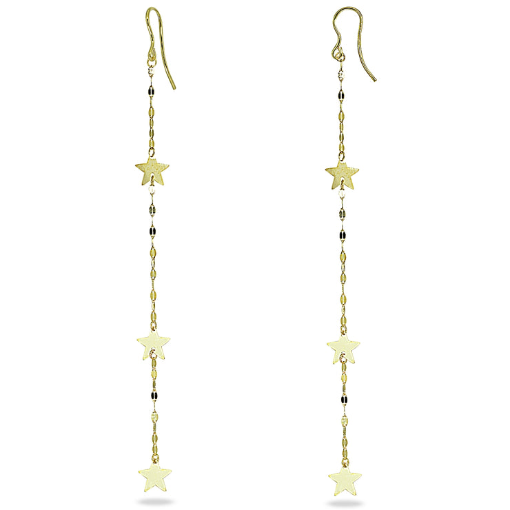 14K Gold Italian Mariner Chain and Star Linear Long  Drop Earrings