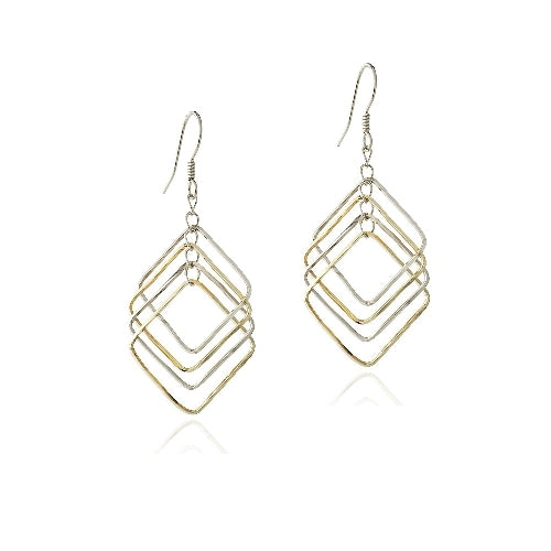 Sterling Silver Two Tone Geometric Square Dangle Earrings