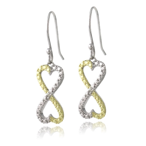 Sterling Silver Two Tone Diamond Accent Infinity Hearts Dangle Earrings