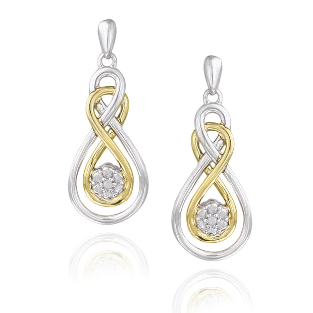 Sterling Silver & Gold Tone Diamond Accent Double Infinity Flower Earrings