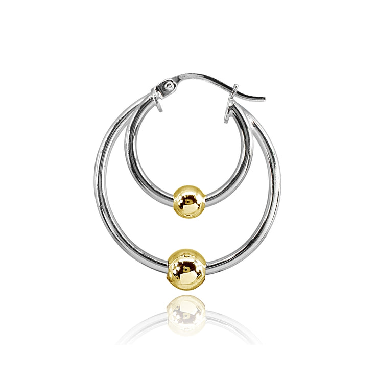 Sterling Silver Two-Tone High Polished Double Hoop with Bead Earrings