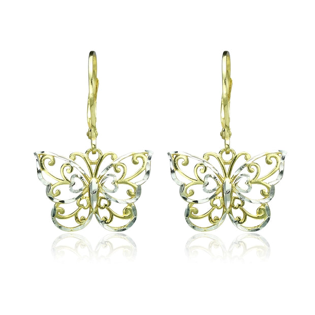 Yellow Gold Flashed Sterling Silver Two-Tone Diamond-cut Filigree Butterfly Dangle Leverback Earrings