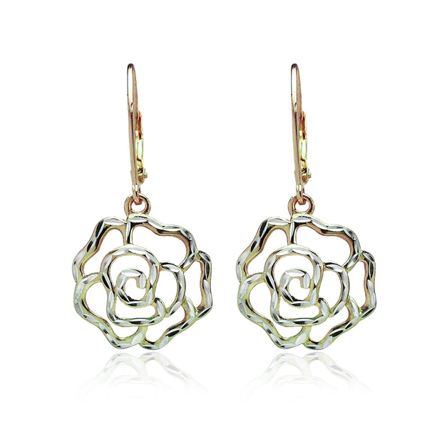 Yellow Gold Flashed Sterling Silver Two-Tone Diamond-cut Rose Flower Dangle Leverback Earrings