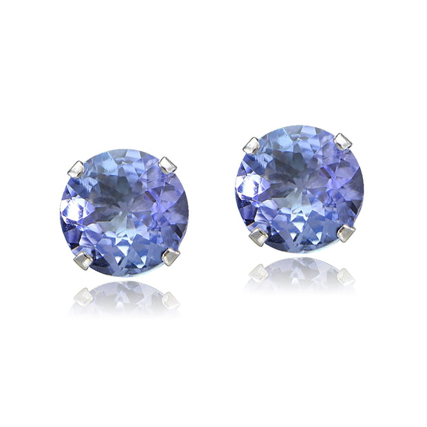1 ct tdw Tanzanite Round 14K White Gold Stud Earrings