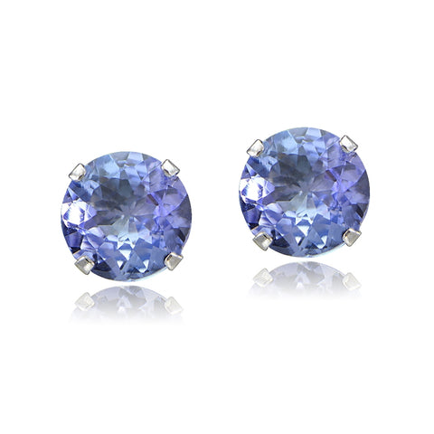 1.00ct TGW Tanzanite Round 14K White Gold Stud Earrings