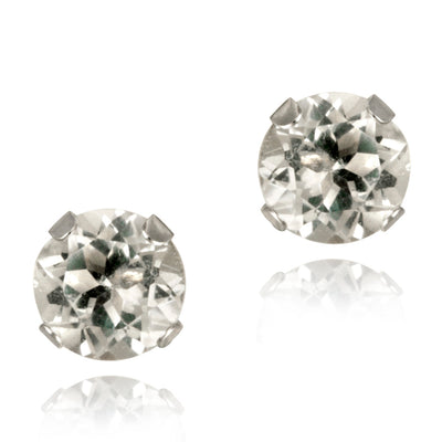 14K White Gold 1.1ct White Topaz Stud Earrings, 5mm