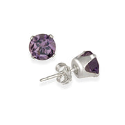14K Gold 1.5ct Amethyst Stud Earrings, 6mm