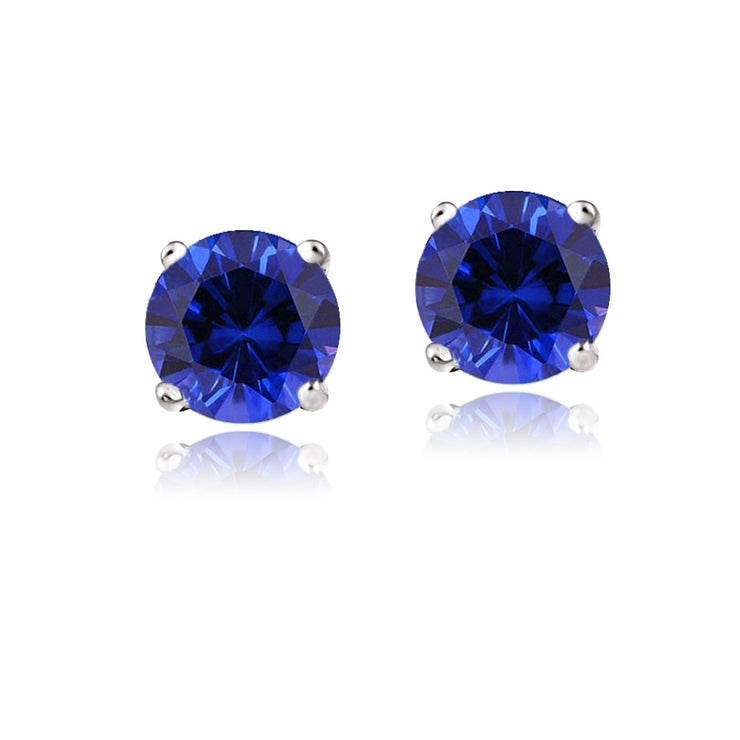 14K White Gold 2.1 ct TGW Created Blue Sapphire Stud Earrings