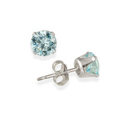 14K White Gold 2.1 Carat TGW Created Blue Sapphire Stud Earrings