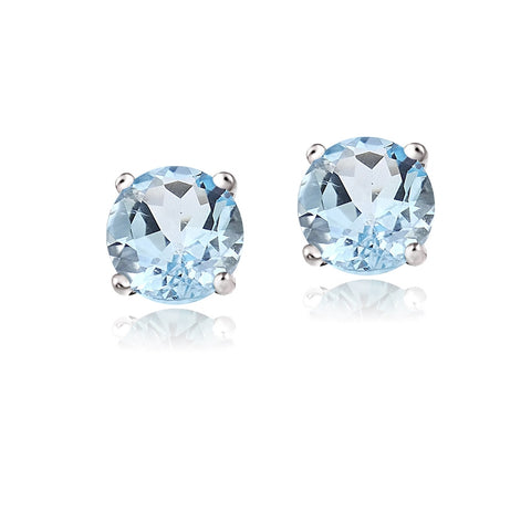 14K Gold 2ct Blue Topaz Stud Earrings, 6mm