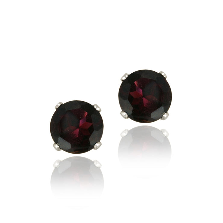 14K Gold 2.2ct Garnet Stud Earrings, 6mm