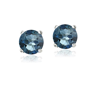 14K Gold 2.1 Carat London Blue Topaz Stud Earrings, 6mm