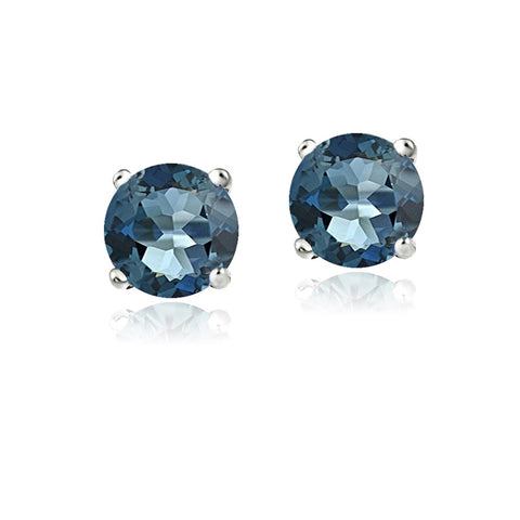 14K Gold 2.1ct London Blue Topaz Stud Earrings, 6mm