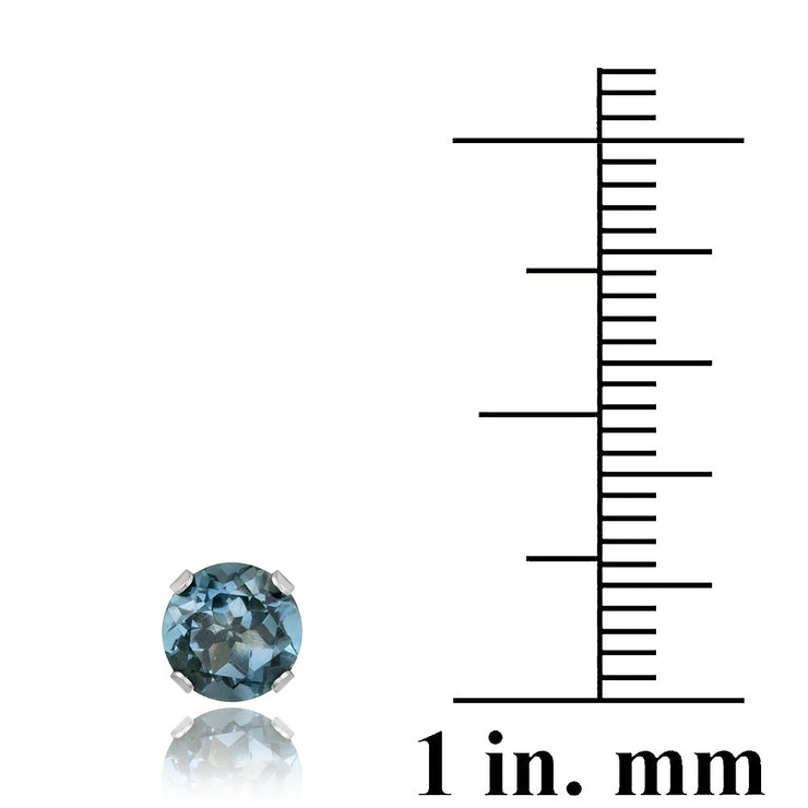 14K Gold 2.1 ct London Blue Topaz Stud Earrings, 6mm