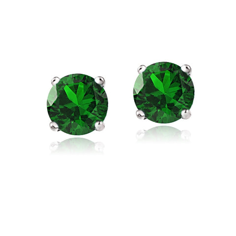 14K White Gold 2.1ct TGW Created Emerald Stud Earrings