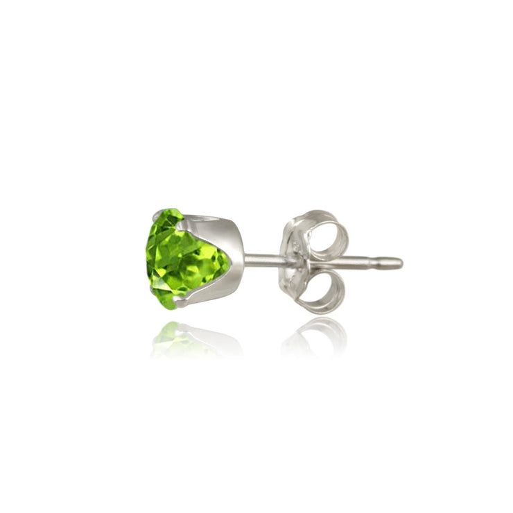 14K Gold Peridot Stud Earrings, 6mm