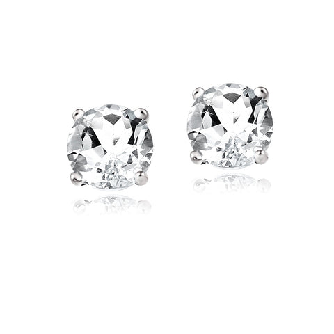 14K Gold 2.1ct White Topaz Stud Earrings, 6mm