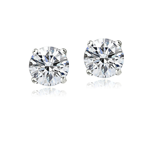 14K Gold 1.5ct CZ Stud Earrings, 6mm