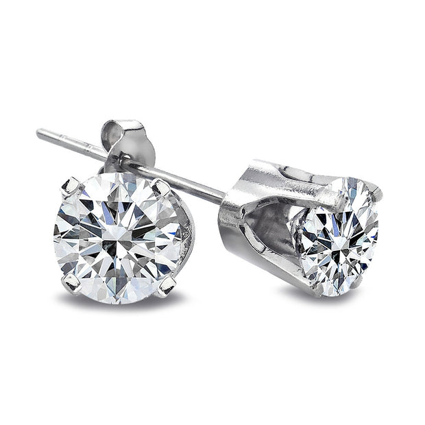 1 Carat Round Cut 14K White Gold Diamond Stud Earrings, G-H, I2