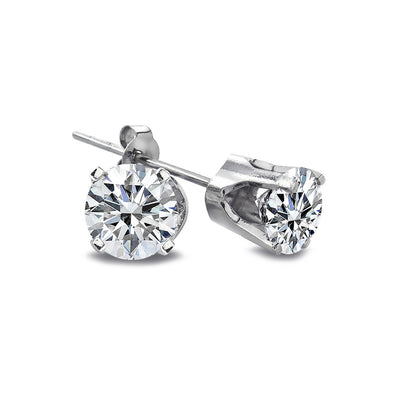 1/2 Carat Round Diamond 14K White Gold Stud Earrings