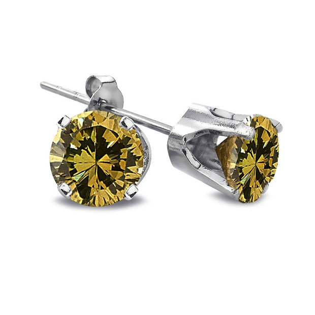 1/2 Carat Round Yellow Diamond 14K White Gold Stud Earrings