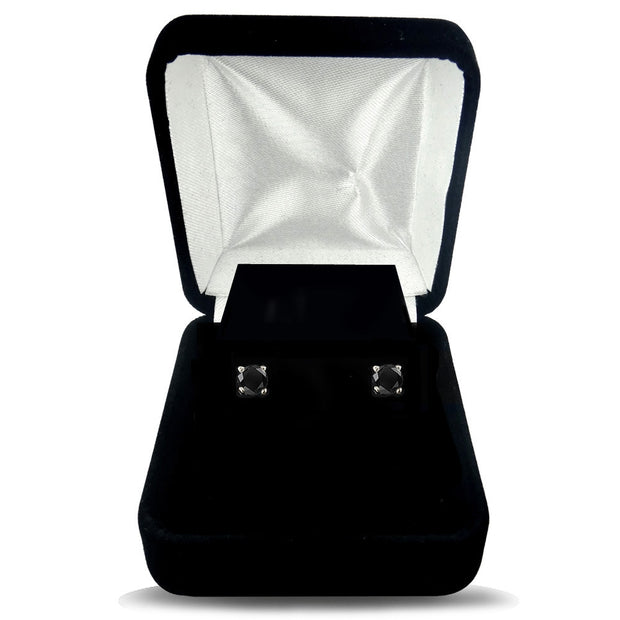 1/4 Carat Round Black Diamond 14K White Gold Stud Earrings