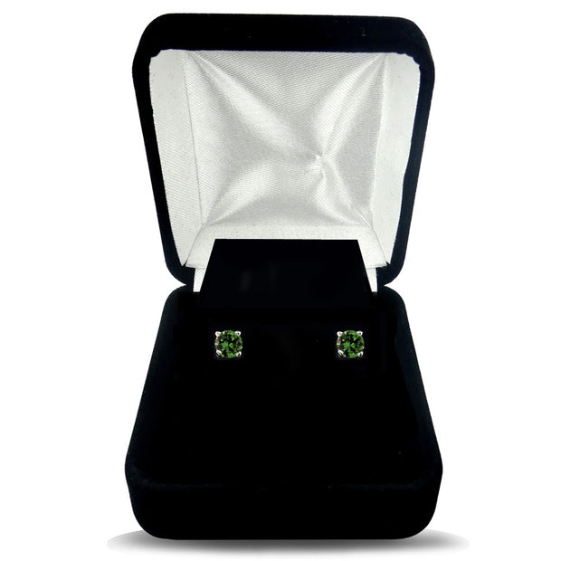 1/4 Carat Round Green Diamond 14K White Gold Stud Earrings