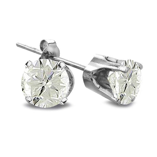 2/5 Carat Round Diamond 14K White Gold Earrings, J-K, I3
